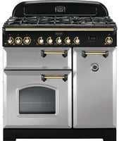 Rangemaster Classic Deluxe CDL90DFFRP/B 90cm Dual Fuel Range Cooker - Royal Pearl/Brass Trim