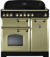 Rangemaster Classic Deluxe CDL90EIOG/B 90cm Electric Range Cooker with Induction Hob - Olive Green/Brass Trim