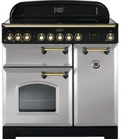 Rangemaster Classic Deluxe CDL90EIRP/B 90cm Electric Range Cooker with Induction Hob - Royal Pearl/Brass Trim