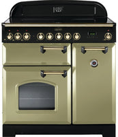 Rangemaster Classic Deluxe CDL90ECOG/B 90cm Electric Range Cooker with Ceramic Hob - Olive Green/Brass Trim