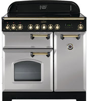 Rangemaster Classic Deluxe CDL90ECRP/B 90cm Electric Range Cooker with Ceramic Hob - Royal Pearl/Brass Trim