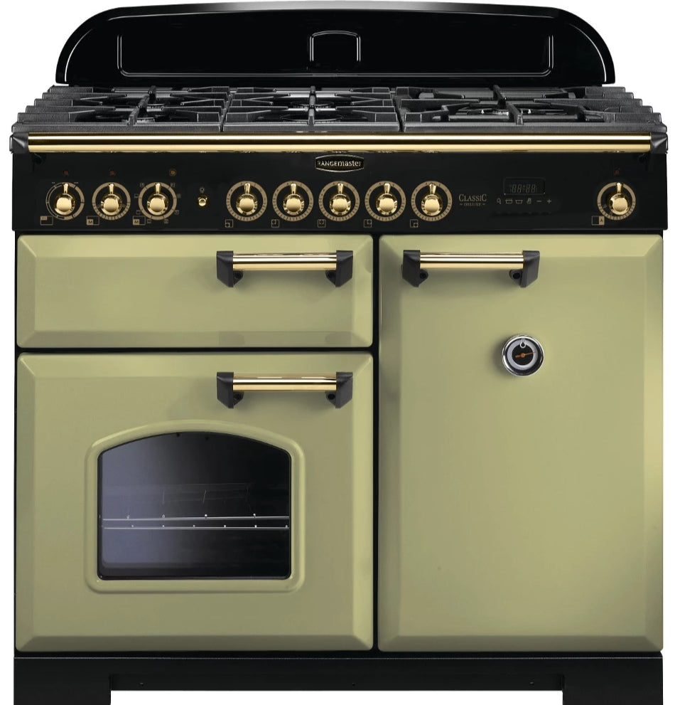 Rangemaster Classic Deluxe CDL100DFFOG/B 100cm Dual Fuel Range Cooker - Olive Green/Brass Trim