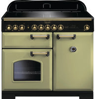 Rangemaster Classic Deluxe CDL100EIOG/B 100cm Electric Range Cooker with Induction Hob - Olive Green/Brass Trim