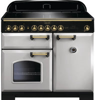 Rangemaster Classic Deluxe CDL100EIRP/B 100cm Electric Range Cooker with Induction Hob - Royal Pearl/Brass Trim
