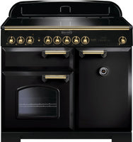 Rangemaster Classic Deluxe CDL100EIBL/B 100cm Electric Range Cooker with Induction Hob - Black/Brass Trim