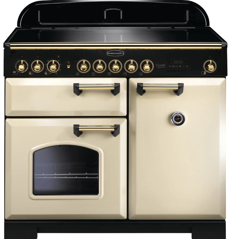 Rangemaster Classic Deluxe CDL100EICR/B 100cm Electric Range Cooker with Induction Hob - Cream/Brass Trim