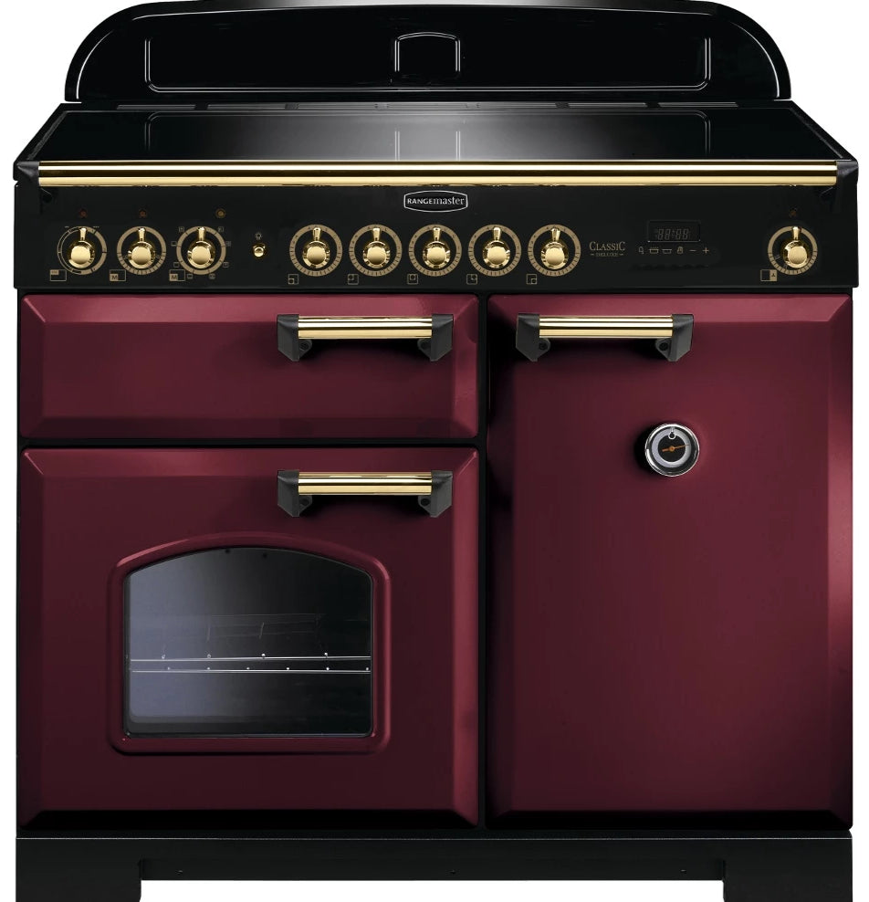 Rangemaster Classic Deluxe CDL100EICY/B 100cm Electric Range Cooker with Induction - Cranberry/Brass Trim