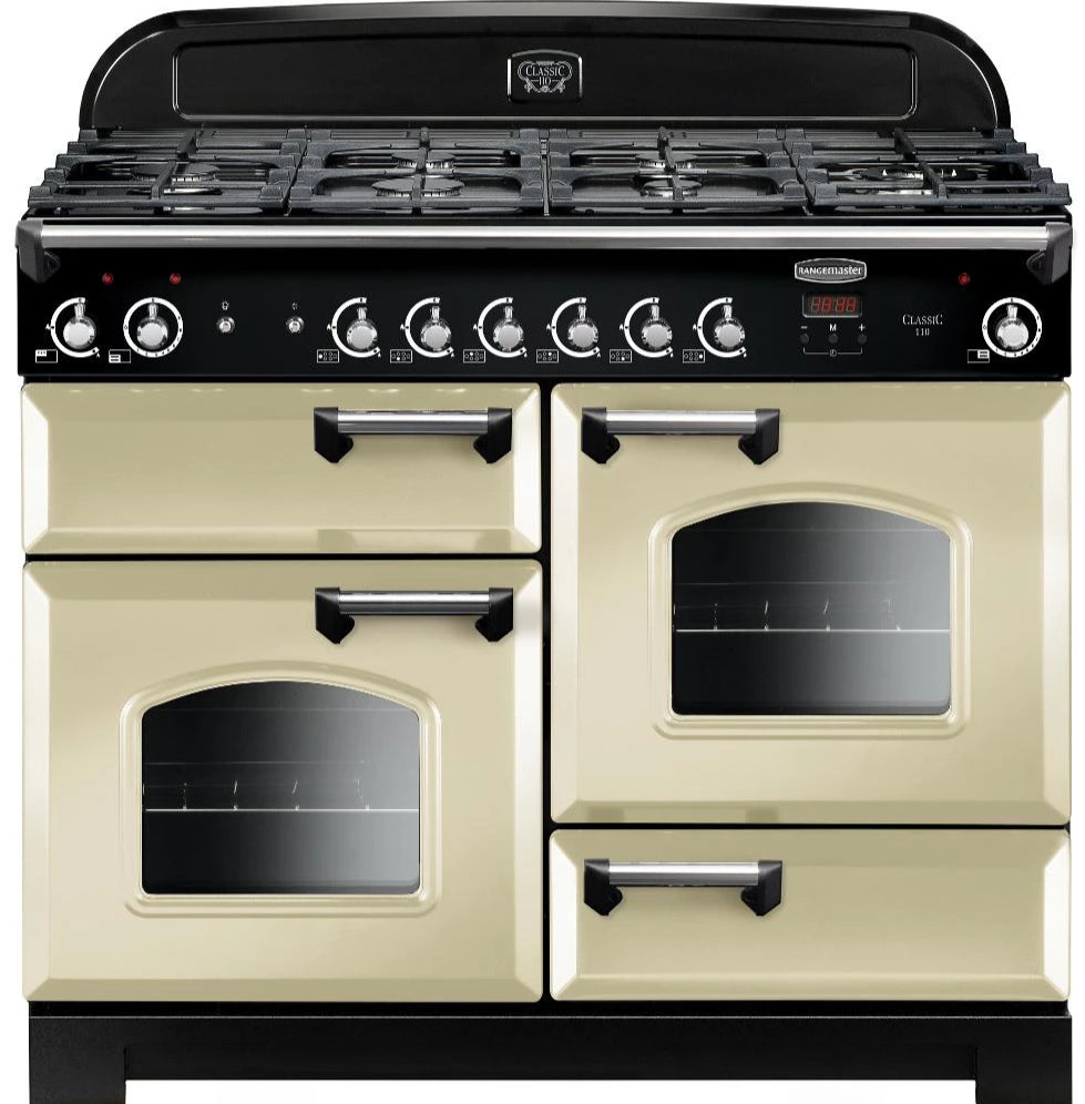Rangemaster Classic CLA110NGFCR/C 110cm Gas Range Cooker - Cream/Chrome Trim