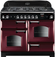 Rangemaster Classic CLA110NGFCY/C 110cm Gas Range Cooker - Cranberry/Chrome Trim