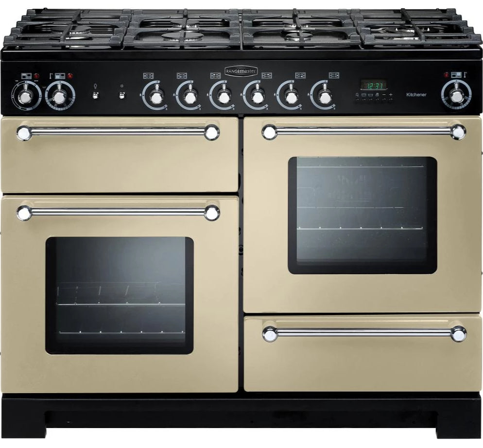Rangemaster Kitchener KCH110NGFCR/C 110cm Gas Range Cooker - Cream/Chrome Trim