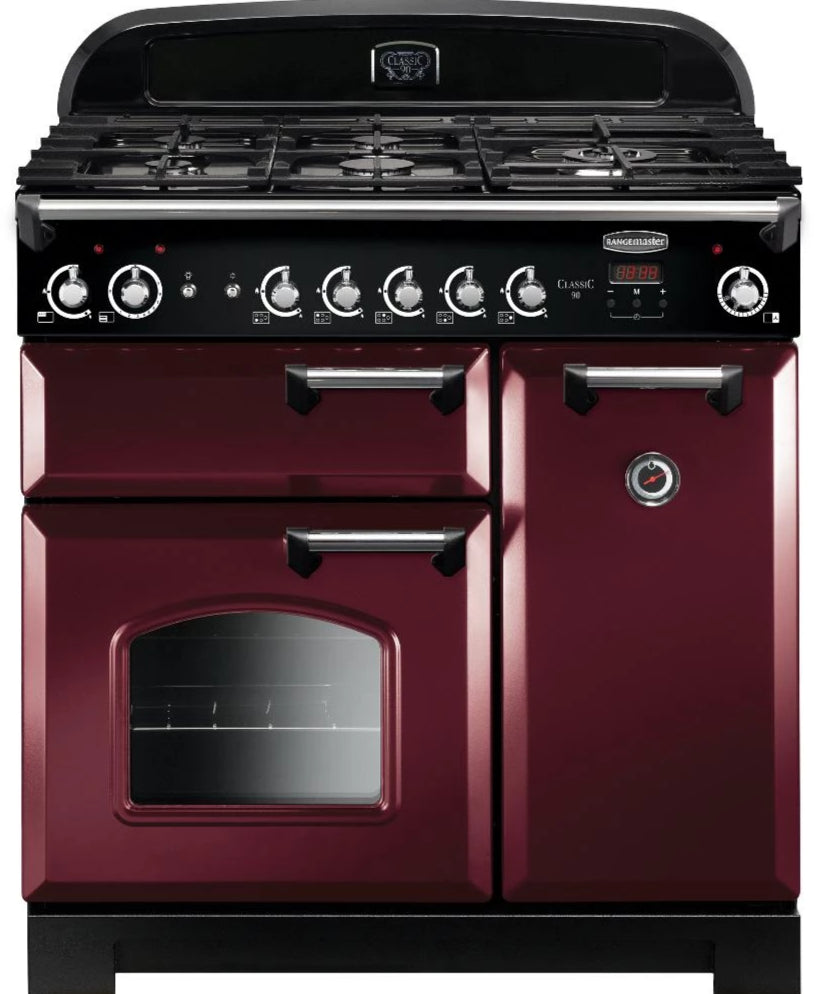 Rangemaster Classic CLA90NGFCY/C 90cm Gas Range Cooker - Cranberry/Chrome Trim