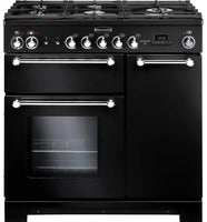 Rangemaster Kitchener KCH90NGFBL/C 90cm Gas Range Cooker - Black/Chrome Trim