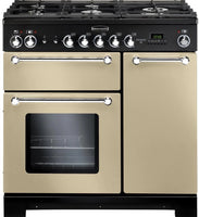 Rangemaster Kitchener KCH90NGFCR/C 90cm Gas Range Cooker - Cream/Chrome Trim