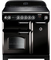 Rangemaster Classic CLA90EIBL/C 90cm Electric Range Cooker with Induction Hob - Black/Chrome Trim