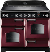 Rangemaster Classic CLA110EICY/C 110cm Electric Range Cooker with Induction Hob - Cranberry/Chrome Trim