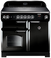 Rangemaster Classic CLA100EIBL/C 100cm Electric Range Cooker with Induction Hob - Black/Chrome Trim