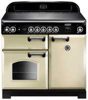 Rangemaster Classic CLA100EICR/C 100cm Electric Range Cooker with Induction Hob - Cream/Chrome Trim