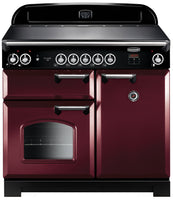 Rangemaster Classic CLA100EICY/C 100cm Electric Range Cooker with Induction Hob - Cranberry/Chrome Trim
