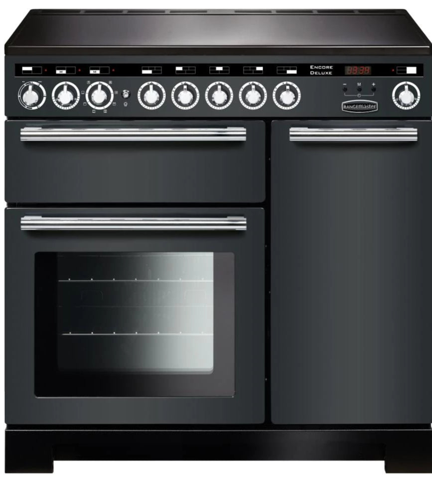 Rangemaster Encore Deluxe EDL90EISL/C 90cm Electric Range Cooker with Induction Hob - Slate/Chrome Trim