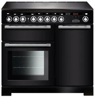 Rangemaster Encore Deluxe EDL100EIBL/C 100cm Electric Range Cooker with Induction Hob - Black/Chrome Trim