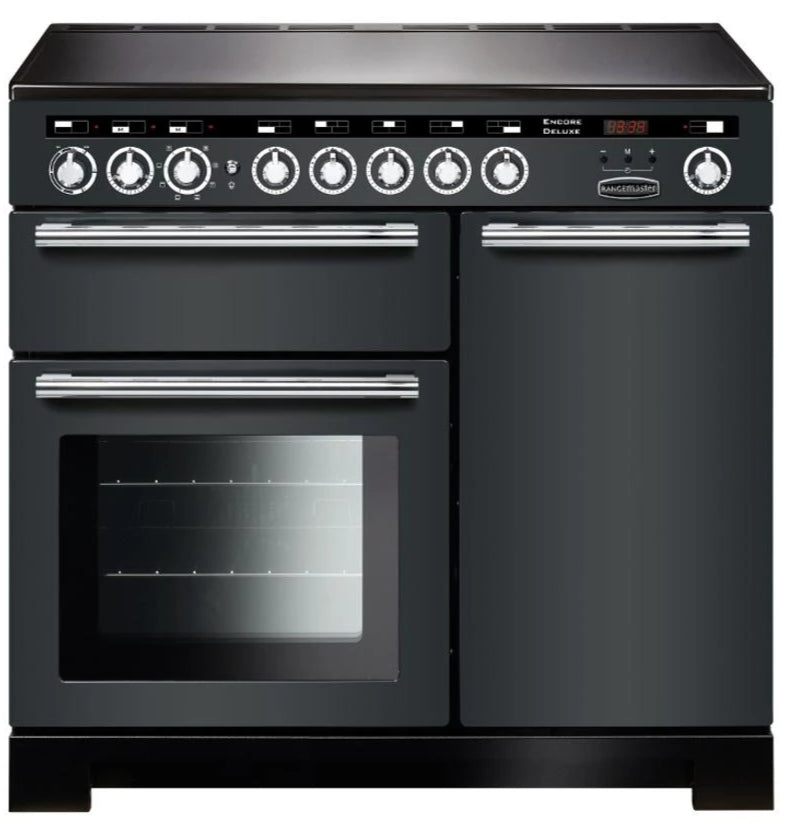 Rangemaster Encore Deluxe EDL100EISL/C 100cm Electric Range Cooker with Induction Hob - Slate/Chrome Trim