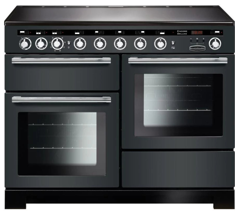 Rangemaster Encore Deluxe EDL110EISL/C 110cm Electric Range Cooker with Induction Hob - Slate/Chrome Trim