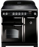 Rangemaster Classic CLA90ECBL/C 90cm Electric Range Cooker with Ceramic Hob - Black/Chrome Trim