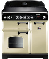 Rangemaster Classic CLA90ECCR/C 90cm Electric Range Cooker with Ceramic Hob - Cream/Chrome Trim