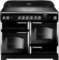 Rangemaster Classic CLA110ECBL/C 110cm Electric Range Cooker with Ceramic Hob - Black/Chrome Trim
