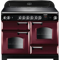 Rangemaster Classic CLA110ECCY/C 110cm Electric Range Cooker with Ceramic Hob - Cranberry/Chrome Trim