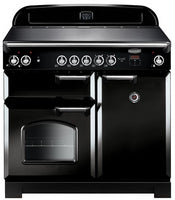 Rangemaster Classic CLA100ECBL/C 100cm Electric Range Cooker with Ceramic Hob - Black/Chrome Trim