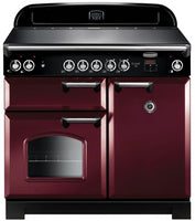 Rangemaster Classic CLA100ECCY/C 100cm Electric Range Cooker with Ceramic Hob - Cranberry/Chrome Trim