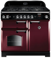 Rangemaster Classic CLA100NGFCY/C 100cm Gas Range Cooker - Cranberry/Chrome Trim