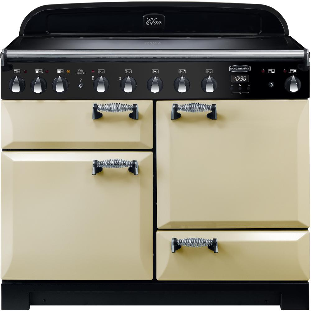 Rangemaster Elan Deluxe ELA110EICR 110cm Electric Range Cooker with Induction Hob - Cream/Chrome Trim