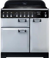 Rangemaster Elan Deluxe ELA90EIRP 90cm Electric Range Cooker with Induction Hob - Royal Pearl/Chrome Trim