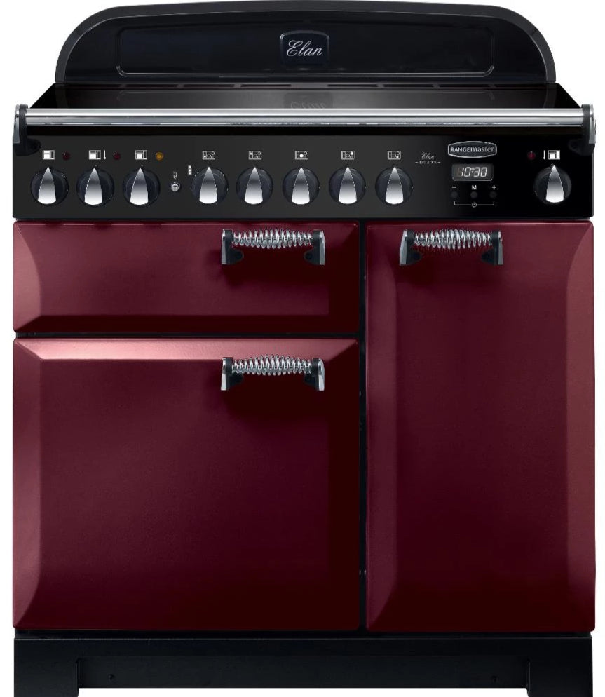 Rangemaster Elan Deluxe ELA90EICY 90cm Electric Range Cooker with Induction Hob - Cranberry/Chrome Trim