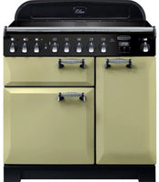 Rangemaster Elan Deluxe ELA90EIOG 90cm Electric Range Cooker with Induction Hob - Olive Green/Chrome Trim