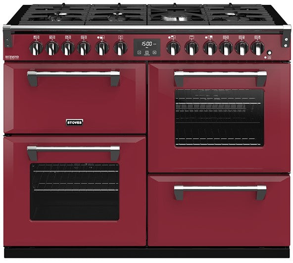 Stoves Richmond Deluxe S1100DF 110cm Dual Fuel Range Cooker - Chilli Red