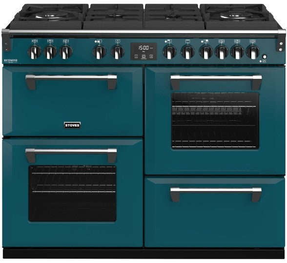 Stoves Richmond Deluxe S1100DF GTG 110cm Dual Fuel Range Cooker - Kingfisher Teal