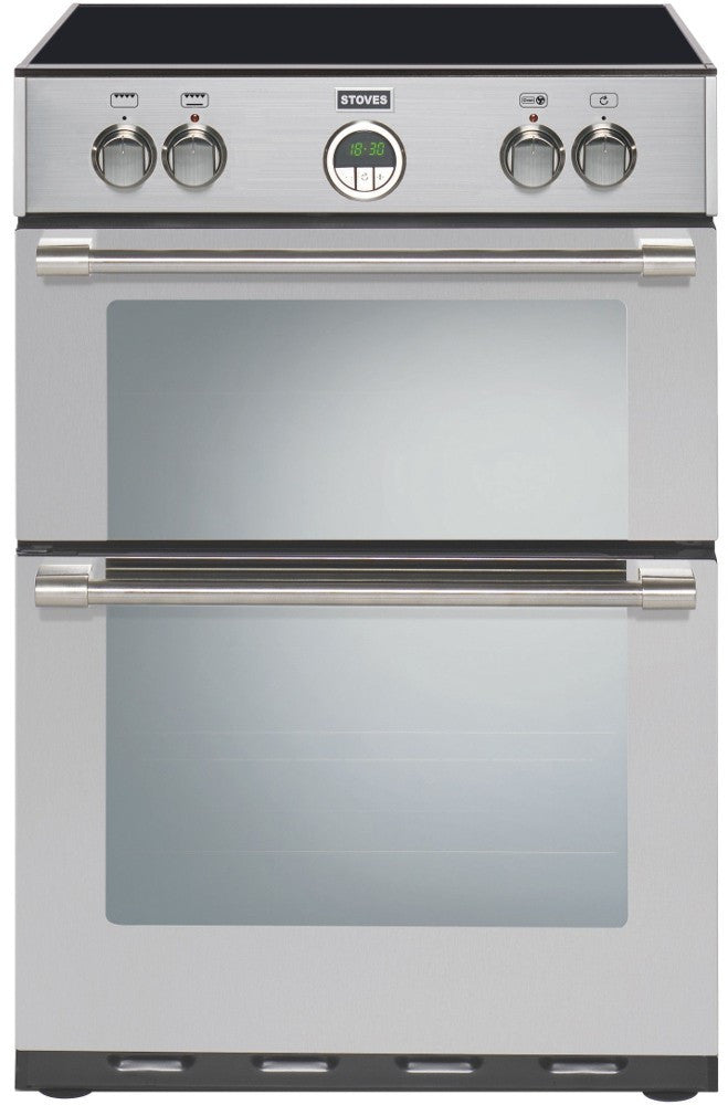 Stoves Sterling 600MFTi Electric Induction Hob Double Oven Cooker 600mm Wide Stainless Steel - Moores Appliances Ltd.