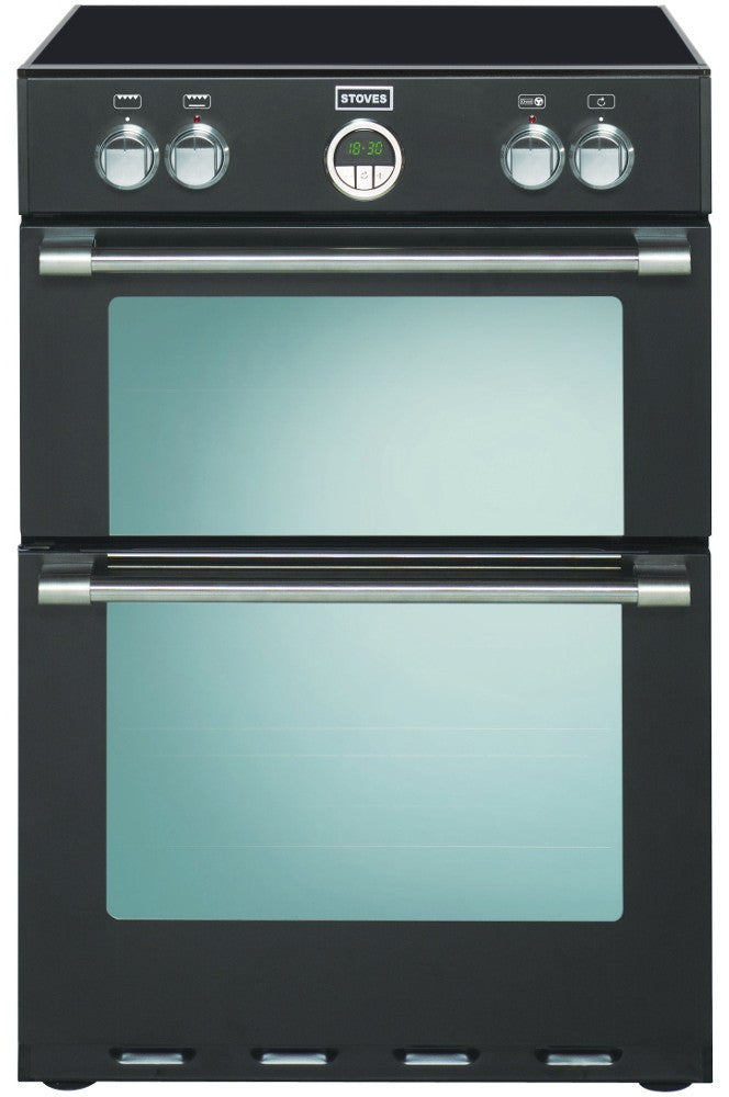 Stoves Sterling 600MFTi Electric Induction Hob Double Oven Cooker 600mm Wide Black - Moores Appliances Ltd.