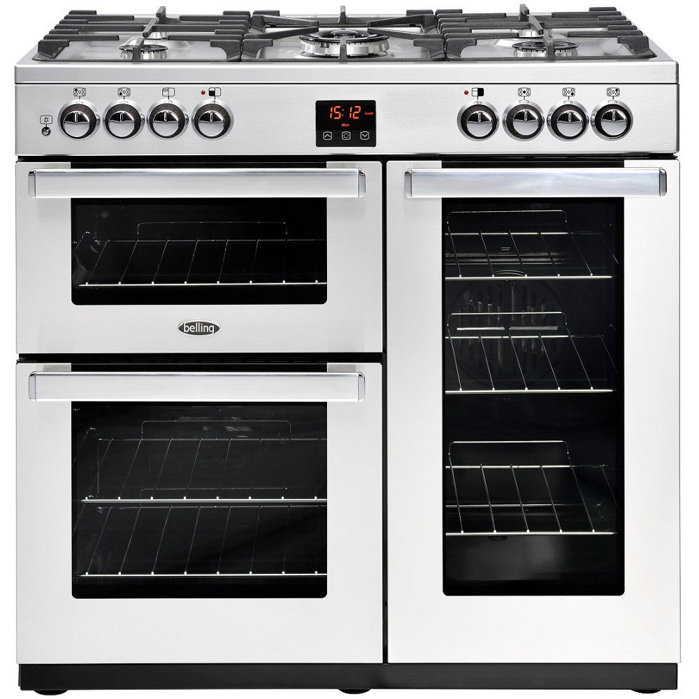 Belling Cookcentre 90DFT Professional Dual Fuel Range Cooker Stainless Steel - Moores Appliances Ltd.