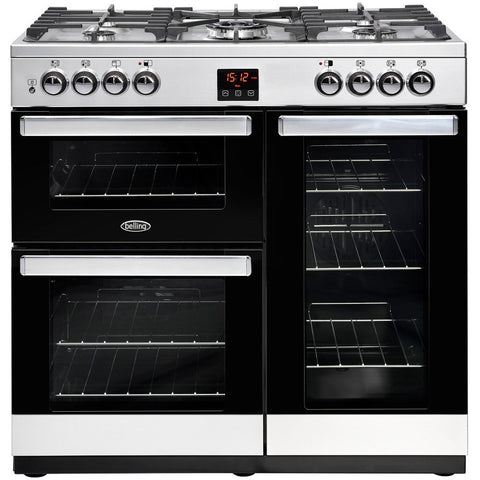 Belling Cookcentre 90DFT Dual Fuel Range Cooker Stainless Steel - Moores Appliances Ltd.