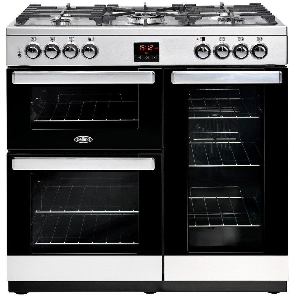 Belling Cookcentre 90G Natural Gas Range Cooker Stainless Steel - Moores Appliances Ltd.