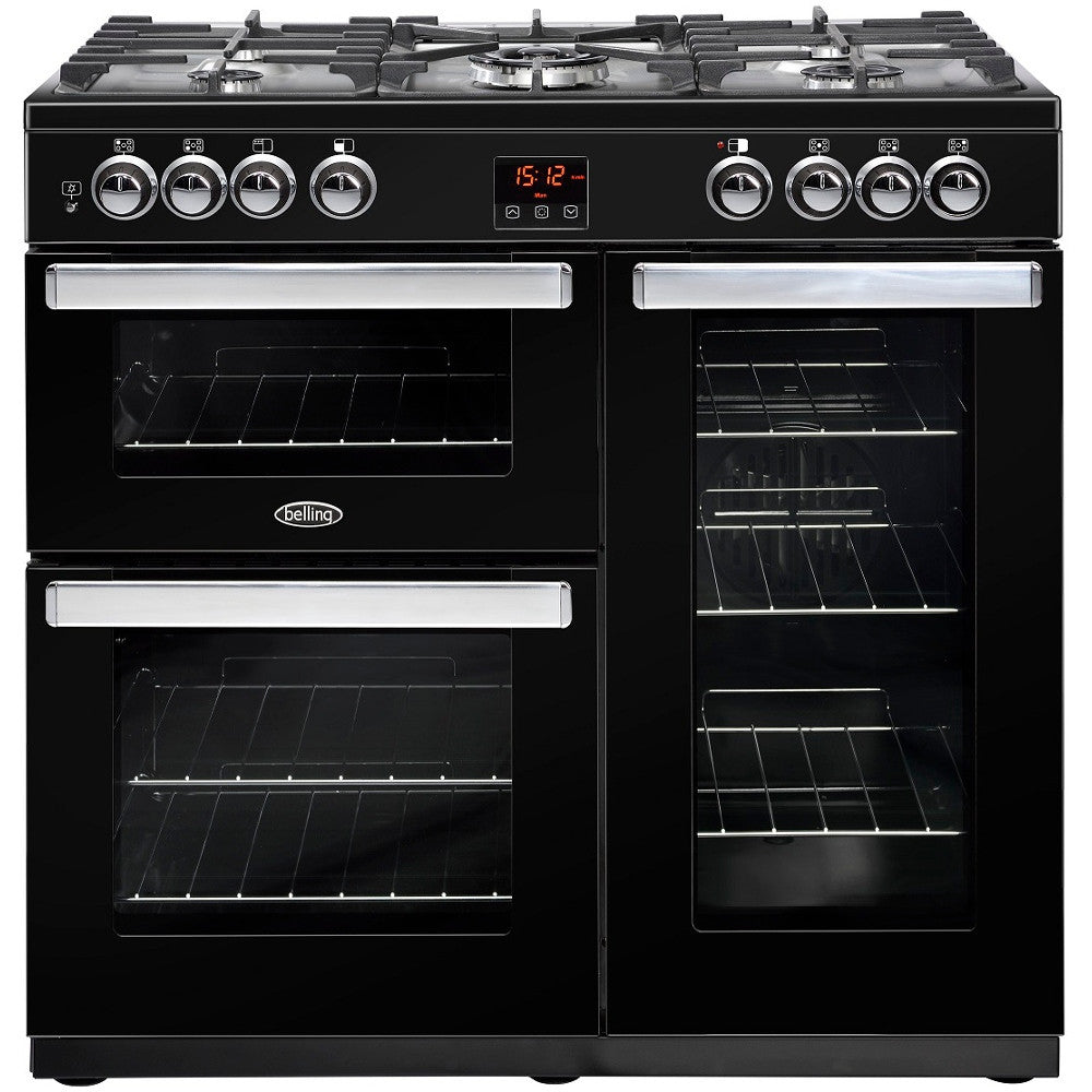 Belling Cookcentre 90G Natural Gas Range Cooker Black - Moores Appliances Ltd.