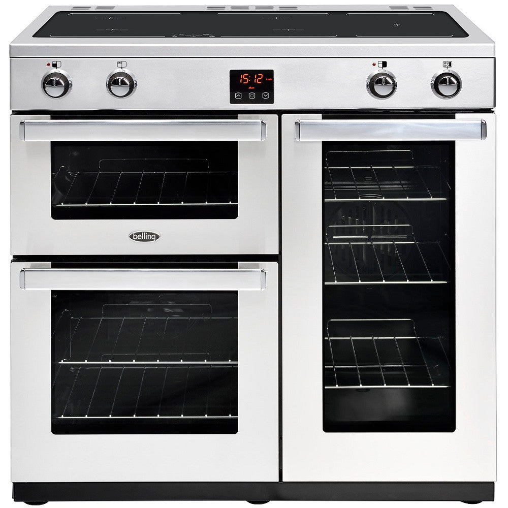 Belling Cookcentre 90Ei Professional Electric Induction Hob Range Cooker Stainless Steel - Moores Appliances Ltd.