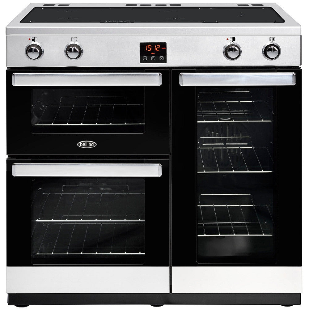 Belling Cookcentre 90Ei Electric Induction Hob Range Cooker Stainless Steel - Moores Appliances Ltd.