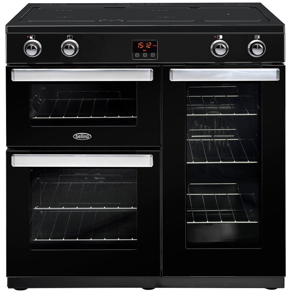 Belling Cookcentre 90Ei Electric Induction Hob Range Cooker Black - Moores Appliances Ltd.