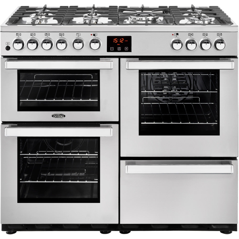 Belling Cookcentre 100DF Professional Dual Fuel Range Cooker Stainless Steel - Moores Appliances Ltd.