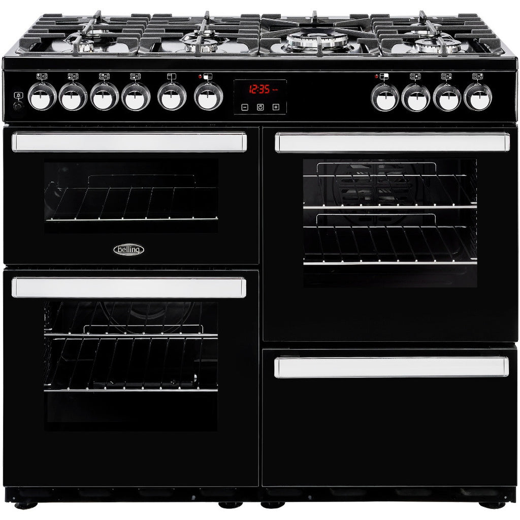 Belling Cookcentre 100DF Dual Fuel Range Cooker Black - Moores Appliances Ltd.